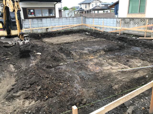 栃木県のバルコニー菜園のある家の家づくりの様子/根切り