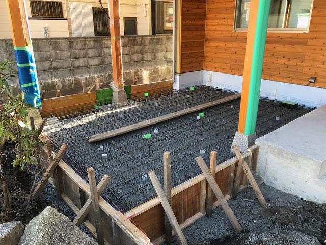 栃木県のバルコニー菜園のある家の家づくりの様子/型枠工事