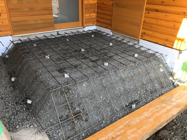 栃木県のバルコニー菜園のある家の家づくりの様子/配筋工事