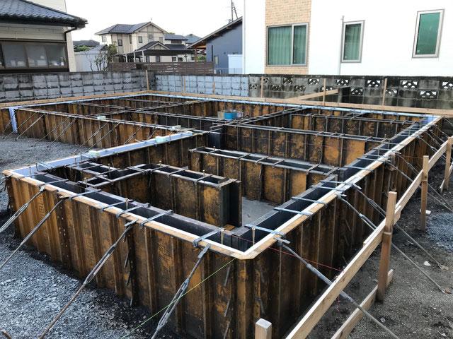 栃木県のバルコニー菜園のある家の家づくりの様子/型枠の工事