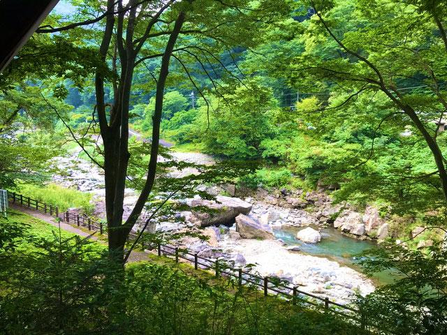 旅館の外には森林や川などの自然の多い風景が広がる