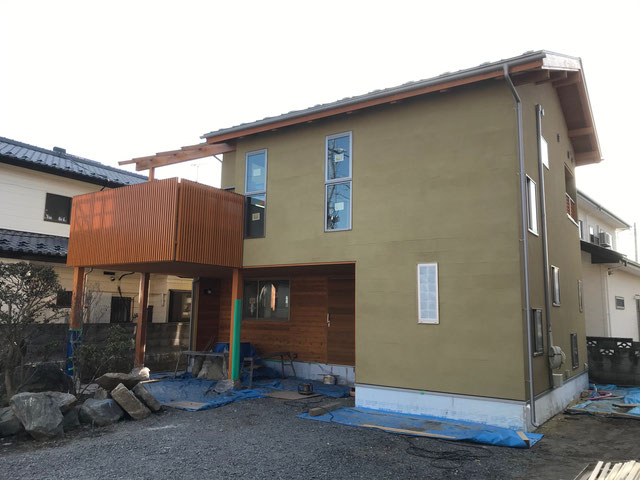 栃木県のバルコニー菜園のある家の家づくりの様子/足場の解体