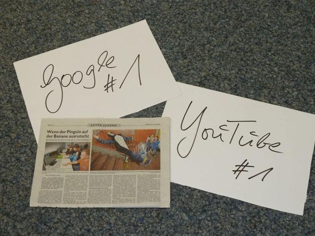 """Alle Projektziele mehr als erreicht: ein Zeitungsartikel über unser Projekt und Google Seite 1 mit dem Suchbegriff """"Finanzchecker"""""""