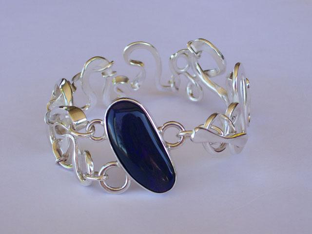 """Madness"" Bracelet - Sterling Silver & Boulder Opal"