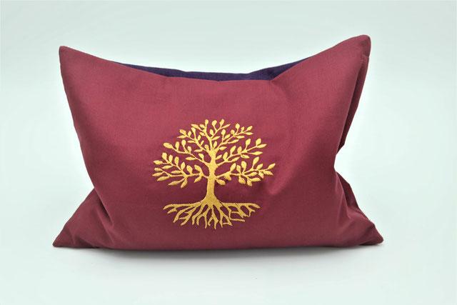 Kräuterkissen mit Lebensbaum, Kissenbezug Baum des Lebens, Biokissen, Kräuterkissen, Grün