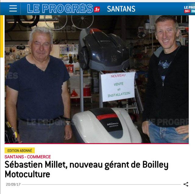 Sébatien Millet gérant de Boilley-Millet Motoculture à Santans  près de Dole dans le département du Jura en région Bourgogne-Franche-Comté.