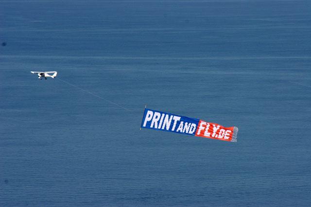 Bannerschlepp entlang der Küste mit Frank rabowski als Pilot