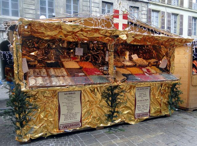 Stand de marché de Noel, ici à Chambéry, décembre 2014