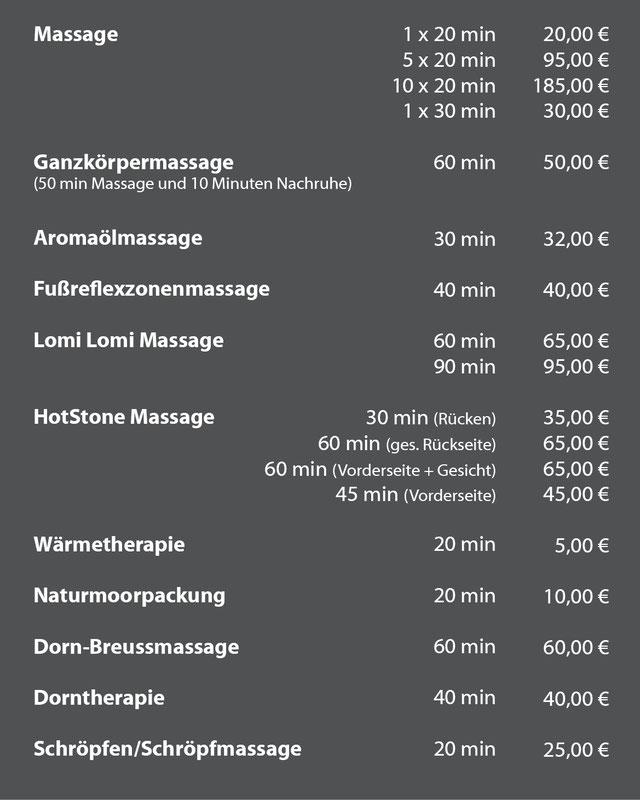 Preise Wellnessangebot Massage, Aromalöl HotStone