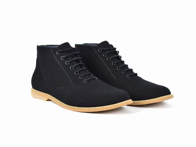 vegane stoff boots stiefel canvas schwarz herren damen schuhe