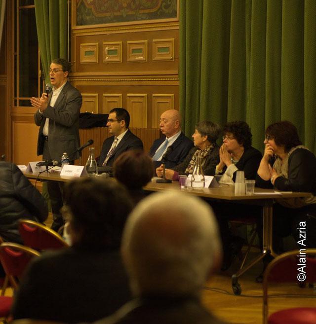 Autour de Lucette Valensi, le député Patrick Bloche, Ahmet Ogras, Vice-Président CFCM, Claude Nataf, Annie Stora et Annie Paule Derczansky
