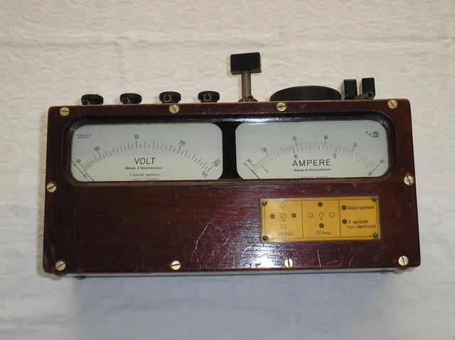 Dreheisen Doppelmessgerät für Strom u. Spannung AC / DC - Herstellung ca. 1930 von Dr. Theodor Horn - Leipzig