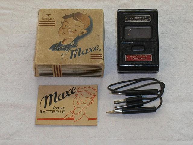 Maxe ohne Batterie. Prüfgerät für Spannungen und Unterbrechungen von 1947
