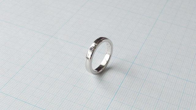 Pt900ロンドンブルートパーズ手作り婚約指輪「藍」
