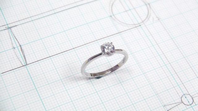 完成の婚約指輪の原型ワックス