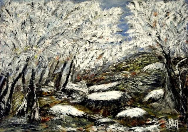 """""""Forêt du Huelgoat sous un blanc manteau"""". RLM 2013 n°42 H/T couteau par Régine Le Maout. Disponible 90 €"""