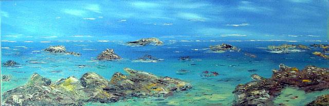 """""""Turquoises d'Iroise"""". RLM 2012 n°28. Huile sur toile couteau par Régine Le Maout. VENDUE."""