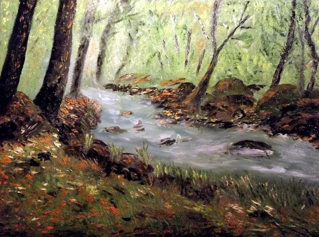 """""""La Rivière d'argent, Forêt du Huelgoat""""RLM 2013 n°44 H/T couteau par Régine Le Maout. OFFERT."""