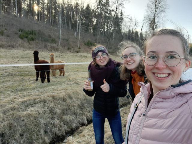 Alpakas und Weglimonade (v.l.: Clarita, Sonja, Hannah)