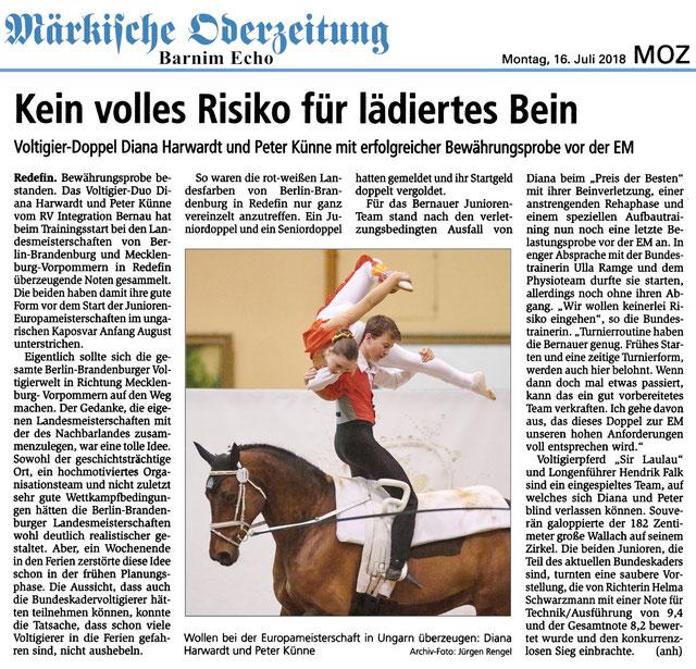Sieg für das Voltigier-Duo des RVI bei den Landesmeisterschaften Berlin -Brandenburg und Mecklenburg-Vorpommern in Redefin, erschienen am 16.07.2018 in der MOZ