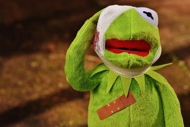 Kermit der Frosch mit Kopfverband