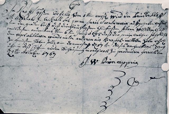 Kopie der Urkunde von 1767. Quelle: Protokollbuch der Bruderschaft