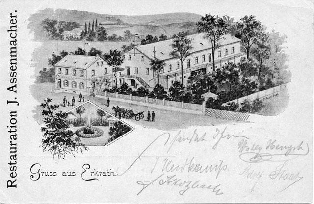 Restauration Jakob Assenmacher, ältester Gebäudeteil mit großem Saalanbau, Ansichtskarte vor 1900,Slg. Ralf Jansen