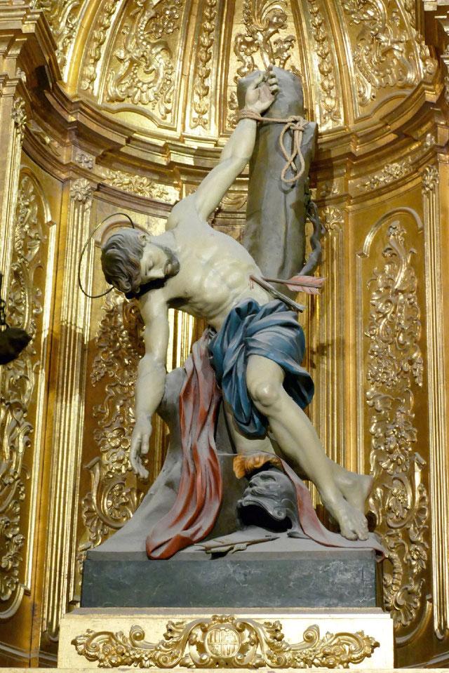 Statue des Heiligen Sebastianus aus der Kathedrale von Palma (Mallorca). Foto: Peter Adelskamp