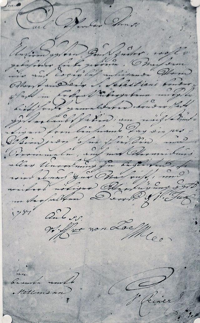 Kopie der Urkunde von 1781. Quelle: Protokollbuch der Bruderschaft.
