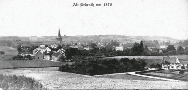 Ansicht des Dorfes Erkrath um 1870. Quelle: Postkarte