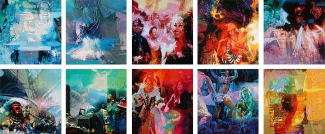 """Centro Internacional de Convenciones y Exposiciones Las Américas. Cartagena, Colombia. Mural """"Feria de Galeones / 10 Piezas en Acrílico sobre lienzo / 5 x 2 metros."""