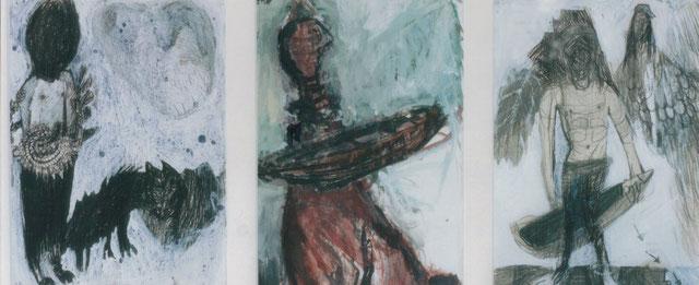 Trois portraits d'Ulysse / 2000 / Techniques mixtes sur papier / 3x  17x23 cm / collection particulière