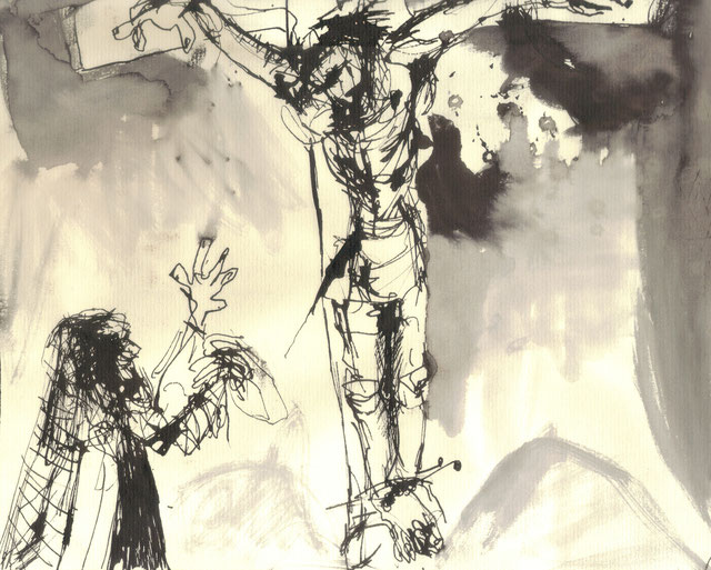 Crucifixion I / 2000 / Encre de chine sur papier / 24x18,5 cm / Collection privée