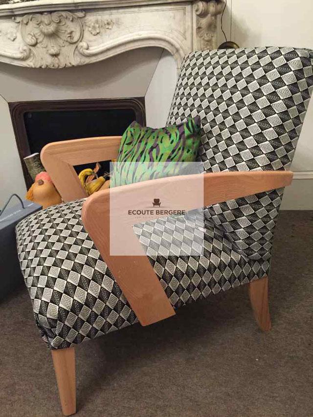 Le fauteuil bio signé Juliette Klein, Ecoute Bergère, s'habille de tissus des couturiers. Choisissez vos couleurs made in France