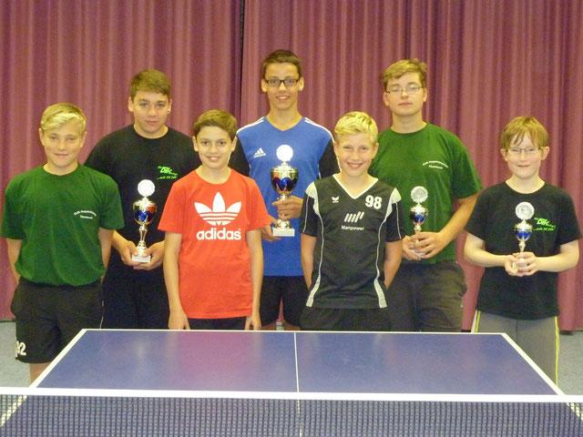 die Jugend Sieger der TT-Vereinsmeisterschaften am 3.10.2013