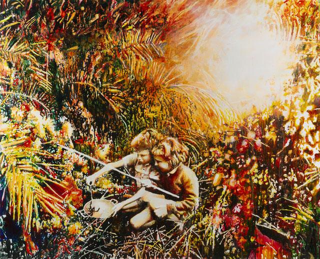 Aufbahrung, Glasmalfarben auf MDF Platte, 100 x 144 cm, 2020