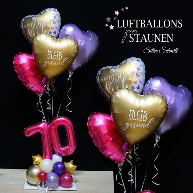 Ballon Luftballon Heliumballon Corona Krise Pandemie bleib gesund zuhause Ich hab dich sooo lieb Versand Ballonpost Post Geburtstag Grüße Überraschung Herz Grüße Ballongrüße
