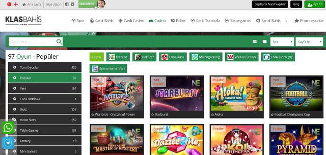 Klasbahis Casino Sayfası Görüntüsü