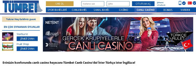Tümbet canlı casino