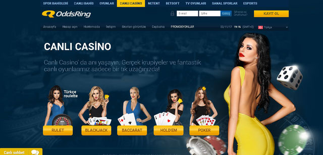 Oddsring Canlı Casino Sayfası Görüntüsü