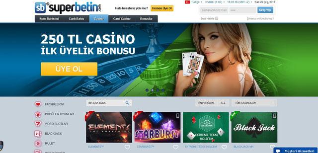 Süperbetin Casino Sayfası Görüntüsü