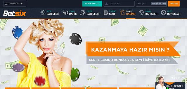 Betsix Canlı Casino Sayfası Görüntüsü