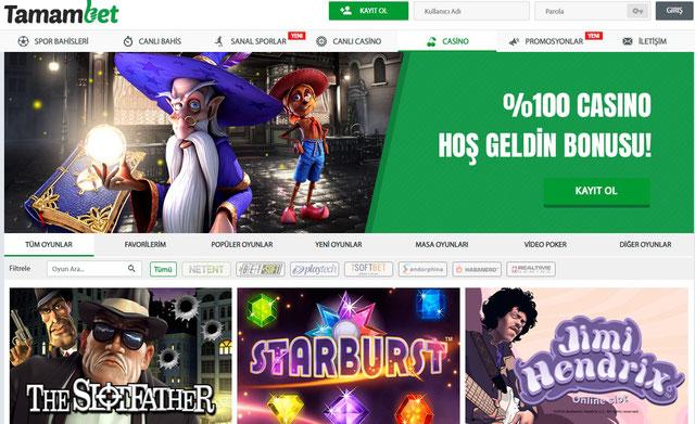 Tamambet Casino Sayfası Görüntüsü