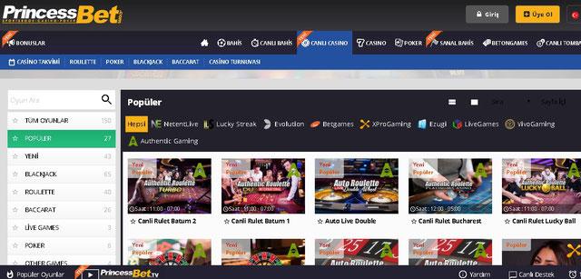 Princessbet Canlı Casino Sayfası Görüntüsü