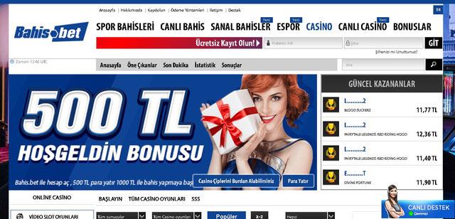 Bahis.bet Casino Sayfası Görüntüsü