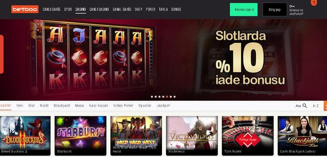 Betboo Casino Sayfası Görüntüsü