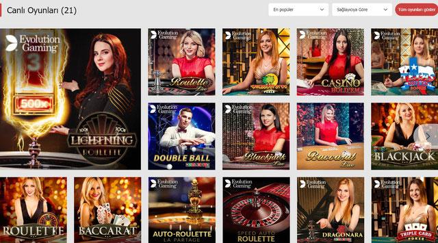 Bahisnow Canlı Casino Sayfası Görüntüsü
