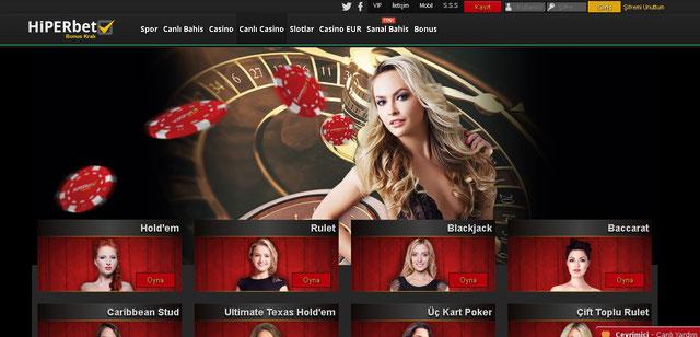 Hiperbet Canlı Casino Sayfası Görüntüsü