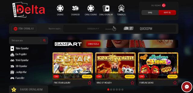 Casino Delta Casino Sayfası Görüntüsü