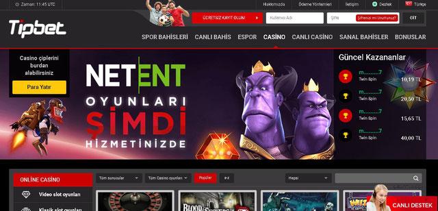 Tipbet Casino Sayfası Görüntüsü